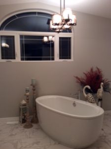 Master bathroom renovations including large freestanding tub